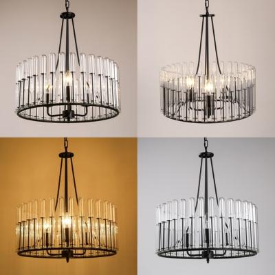 3 Lights Drum Shape Pendant Lighting Industrial Metal and Clear Glass Chandelier in Black