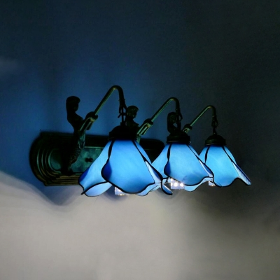 3 Lights Flower Sconce with Mermaid Light Tiffany Style Glass Wall Light in Blue/Pink for Living Room