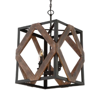4 Lights Square Shade Chandelier Antique Style Metal and Wood Pendant Light in Black for Hallway Stair