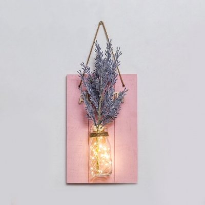 Pretty Hanging String Light Glass and Wood Fairy Light with Plant and Clear Glass for Living Room Hallway