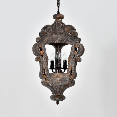 Antique Style Chandelier With Lantern Shape 3 Lights Metal And Wood