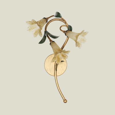 Antique Style Flower Shape Wall Light Metal White/Yellow/Pink Glass 3 Lights Sconce Light for Foyer