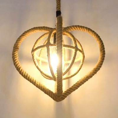 Beige Heart Shape Hanging Light Single Light Rustic Style Rope Pendant Lighting for Restaurant