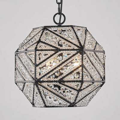 Black Polyhedron Shade Chandelier 3 Lights Antique Style Metal and Crystal Ceiling Light for Foyer