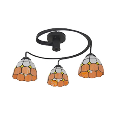 Cone Living Room Semi Flush Ceiling Light Stained Glass 3 Lights Tiffany Style Ceiling Lamp in Blue/Pink/Yellow