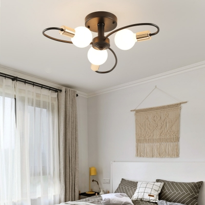 Creative Black Semi Flush Mount Light with Twist Arm 3/6/8 Lights Metal Ceiling Lamp for Bedroom