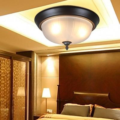 Dome Shape Flush Mont Light 3 Lights Vintage Style Overhead Light in White and Black for Dining Room Foyer