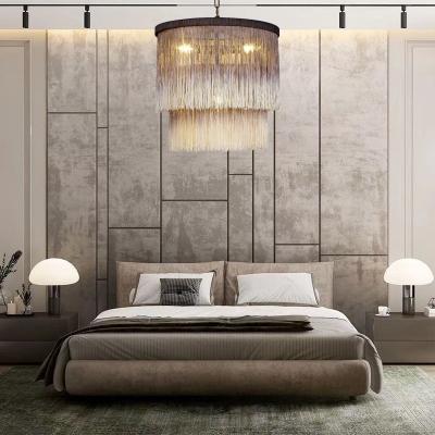 Dome Shape Living Room Chandelier Tassel 4 Lights Rustic Style Hanging Light in Brown