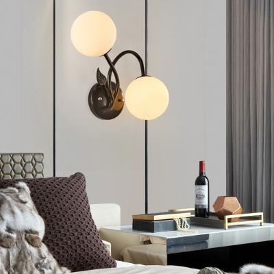 Frosted Glass and Metal Wall Light 2 Lights European Style Orb Sconce Light in Black/Gold