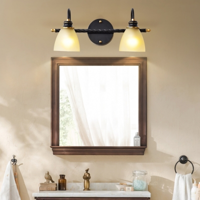Frosted Glass Dome Wall Light 2/3 Lights Traditional Style Sconce Light in Black for Bathroom