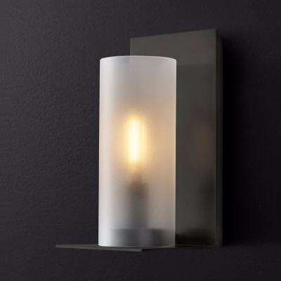 Frosted Glass Metal Cylinder Wall Lamp 1 Light Contemporary Sconce Light in Black/Brass