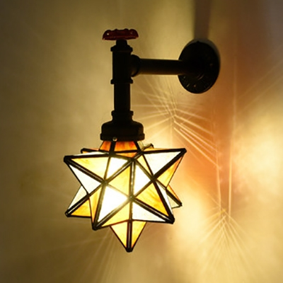 Glass Star Wall Light with Pipe 1 Head Vintage Style Sconce Light for Restaurant Cafe