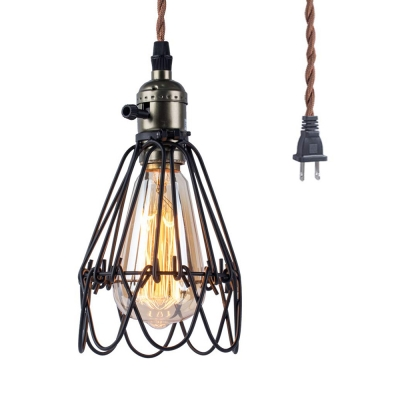 Metal Wire Cage Hanging Light Dining Room 1 Light Vintage Style Plug In Pendant Lamp in Black