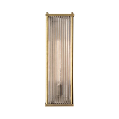 Metal and Crystal Rectangle Wall Lamp One Light Modern Sconce Light in Brass/Silver for Bedroom