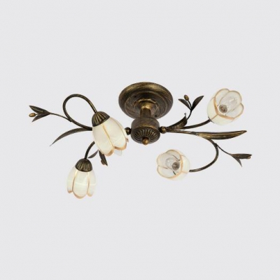 Metal Frosted Glass Ceiling Light Living Room Restaurant 4/6/8/10/12 Lights Vintage Style Semi Flush Mount Light with White Flower Shade