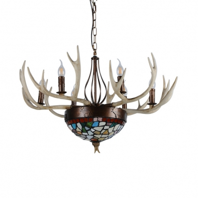 Multi Color Domed Shape Chandelier 9 Lights Tiffany Style Resin Hanging Light with Antlers