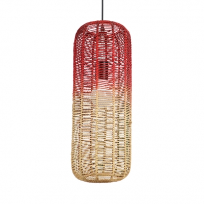Red Cylinder Pendant Hanging Lamp Pastoral One Light Woven Pendant Light for Restaurant