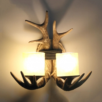 Resin Antlers Shaped Wall Sconce Dining Room Living Room 2 Lights Rustic Style Wall Lamp