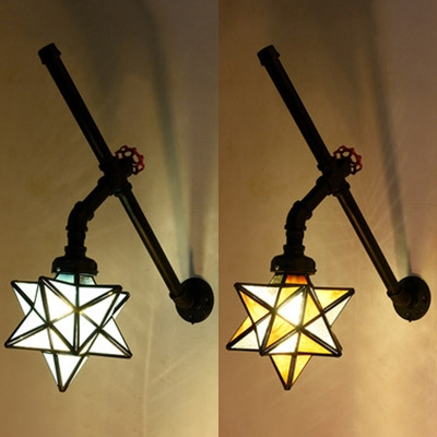 Restaurant Star Sconce Light Stained Glass Single Head Tiffany Style Antique Wall Light