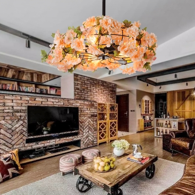 Round Semi Flush Light with Orange Flower Decoration Industrial Metal Semi Flush Mount for Restaurant