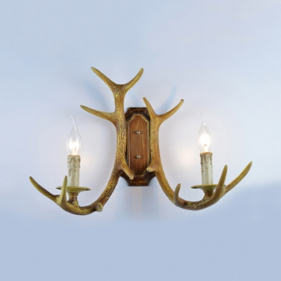 Vintage Deer Horn Wall Sconce 2 Lights Metal Wall Lamp in Bronze/Brown for Foyer Hallway