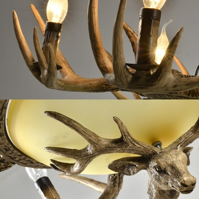 Vintage Style Beige Hanging Light with Deer Decoration and Domed Shade 6 Lights Resin Chandelier