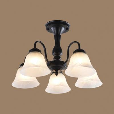 Vintage Style Bell Semi Flush Mount Light 3/5 Lights Metal Ceiling Light in Black for Bedroom