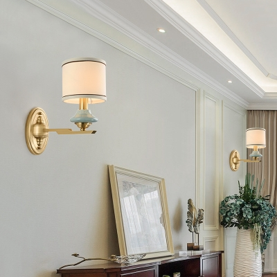 Vintage Style Brass Wall Sconce Drum Shade 1/2 Lights Fabric Sconce Light for Hotel House