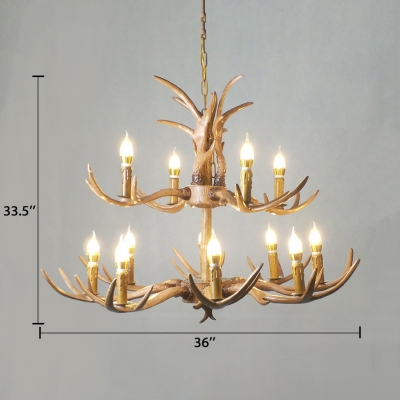 Vintage Style Chandelier with Candle and Antlers Decoration 4/6/8/12 Lights Resin Hanging Light for Living Room