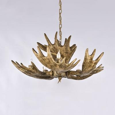 Vintage Style Deer Horn Chandelier 5 Lights Resin Hanging Light Fixture for Dining Room Foyer