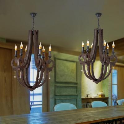 Wood Candle Shape Chandelier 4 Lights American Vintage Pendant Light for Dining Room Kitchen