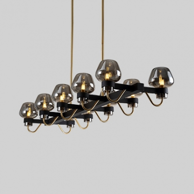 10 Lights Linear Chandelier Vintage Style Metal and Clear/Amber/Smoke Gray Glass Pendant Light in Black for Dining Room