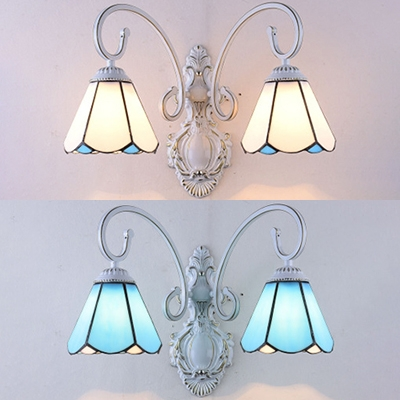 2 Lights Conical Wall Lamp Simple Style Glass Sconce Light for Dinging Room Living Room