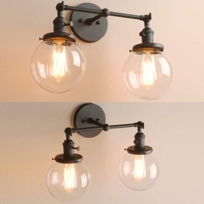 2 Lights Globe Shade Wall Light American Vintage Metal and Glass Sconce Light in Black/Brass