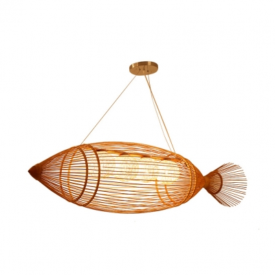 3/4-Light Fish Island Light for Restaurant Asian Bamboo Woven Chandelier in Beige with Adjustable Chain