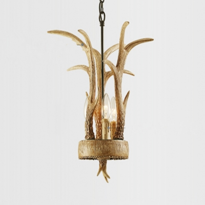3 Lights Antler Pendant Light with Candle Rustic Resin Hanging Light in Yellow with Adjustable Chain