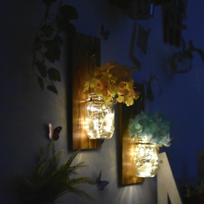 Pretty String Light Wood and Glass Fairy Light with Blue/Pink/White Flower Twinkle Light for Dining Room