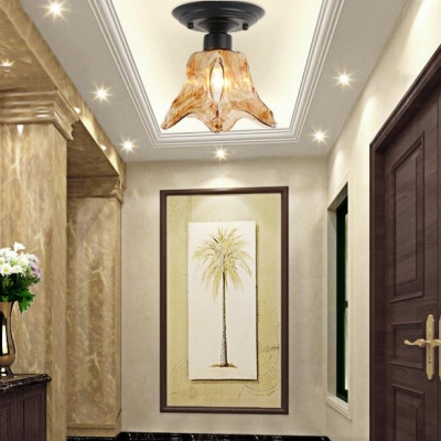 Antique Style Light Fixture 1 Light Glass LED Ceiling Light for Living Room Hallway