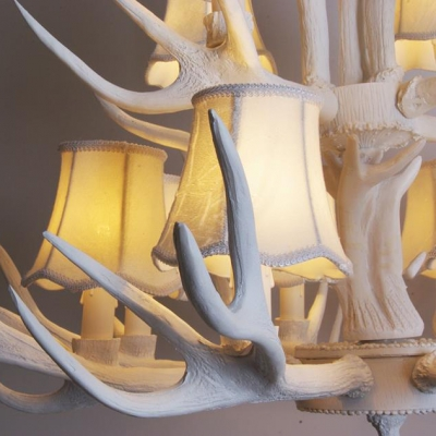 6/8/9 Lights Antlers Chandeliers with Tapered Shade Vintage Style Resin Hanging Light for Dining Room