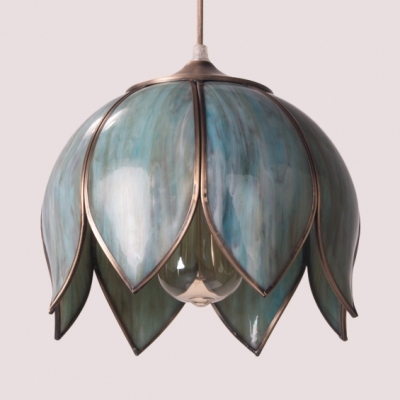 Bedroom Dining Room Lotus Pendant Light Metal Glass 1 Light Vintage Style Ceiling Light with 2 Shape Choice