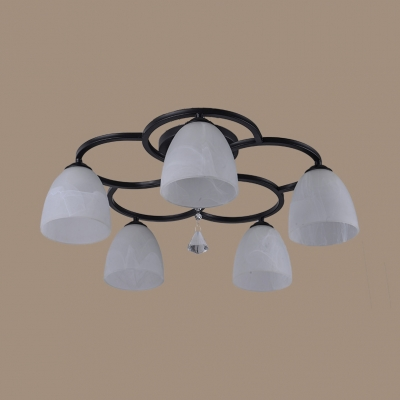Black Bell Shape Semi Flush Mount Light 3/5/7 Lights Rustic Metal Ceiling Lamp for Foyer