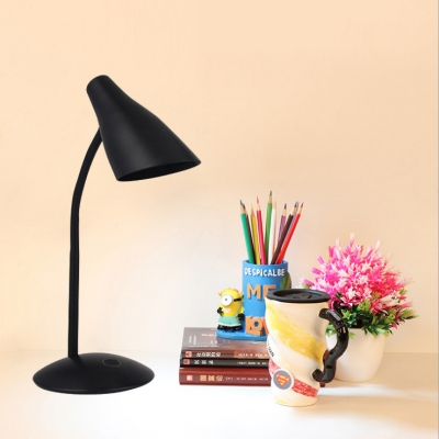 Black/White Flexible Gooseneck Desk Light Rotatable USB Charging Port and Battery Reading Light with Touch Sensor