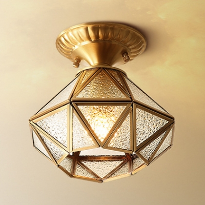 Brass Polyhedron Flush Mount Light 1 Light Antique Style Clear/Frosted Glass Ceiling Light for Bedroom