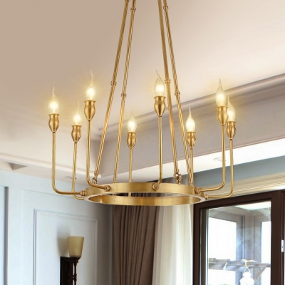 Brass Round Chandelier Light 6/8 Lights Elegant Metal Wall Light with