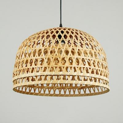 Coffee/Wood Dome Shape Ceiling Light Fixture Single Light Rustic Rattan Pendant Light for Kitchen