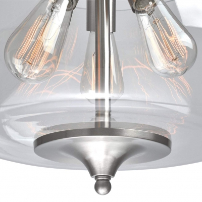 Clear Glass Urn Pendant Light Triple Light Modernism Brushed Nickle Chandelier Lighting with Hanging Chain