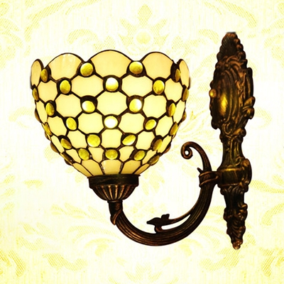 Flower Shade Dining Room Sconce Light with Glass Beads Decoration Tiffany Style Wall Sconce in White