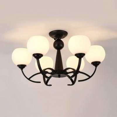 Frosted Glass Globe Semi Flush Mount Light Foyer Hallway 3/6/8 Lights Simple Style Ceiling Light in Black