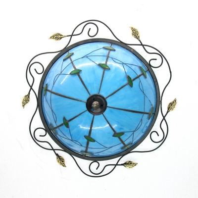 Glass Domed Ceiling Light Bedroom Rustic Style Leaf Flush Mount Light in Beige/Blue