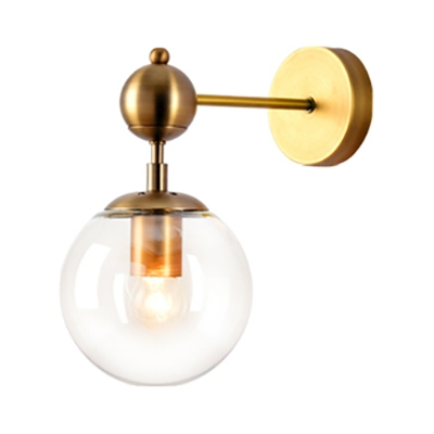 Globe Shape Wall Sconce Single Light Industrial Metal and Glass Wall Light for Dining Room Hallway